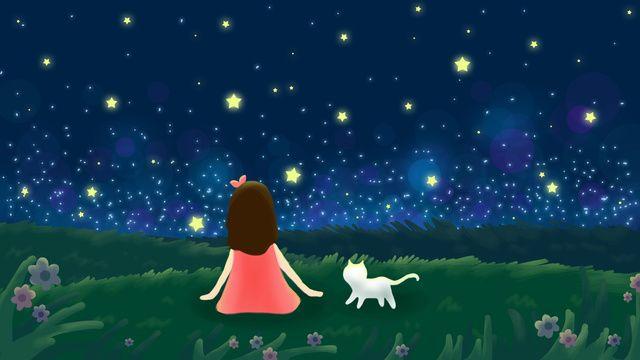 Leto Seredina Leta Noch Zvezdnoe Nebo Devushka Belaya Koshka Pastbishnye Ugodya Rukopisnye Illyustraciya Izobrazhenie Na Pngtree Royalti Fri Night Sky Stars Starry Sky Cat Grass