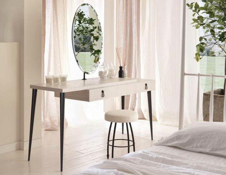 meuble-coiffeuse-table-élégante-noir-blanc-tiroir-miroir-ovale-chambre-coucher