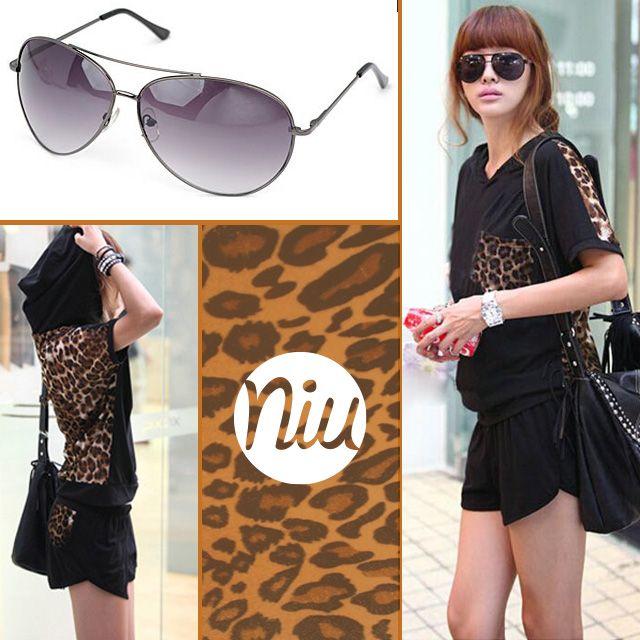 Outfit de tendencia animal print con sunglasses de tonos negros,  encuentra esto y mucho más en: www.niuenlinea.co