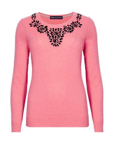 Pure Cashmere Jewel Embellished Jumper | M&S