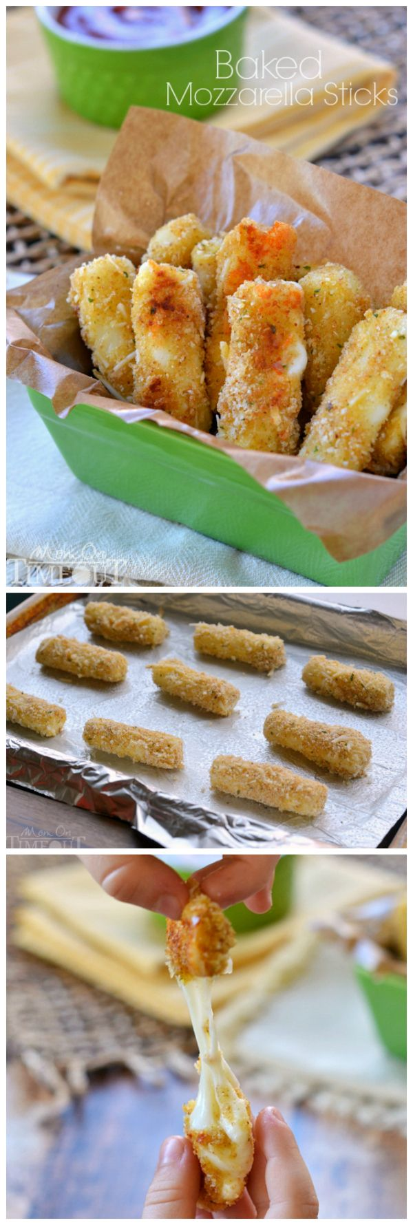 These Freezer-Friendly Baked Mozzarella Sticks are perfect for after-school snacks, late night munchies, and game day! | MomOnTimeout.com | #appetizer #cheese #recipe  Amazing recipe, really easy and really tasty!