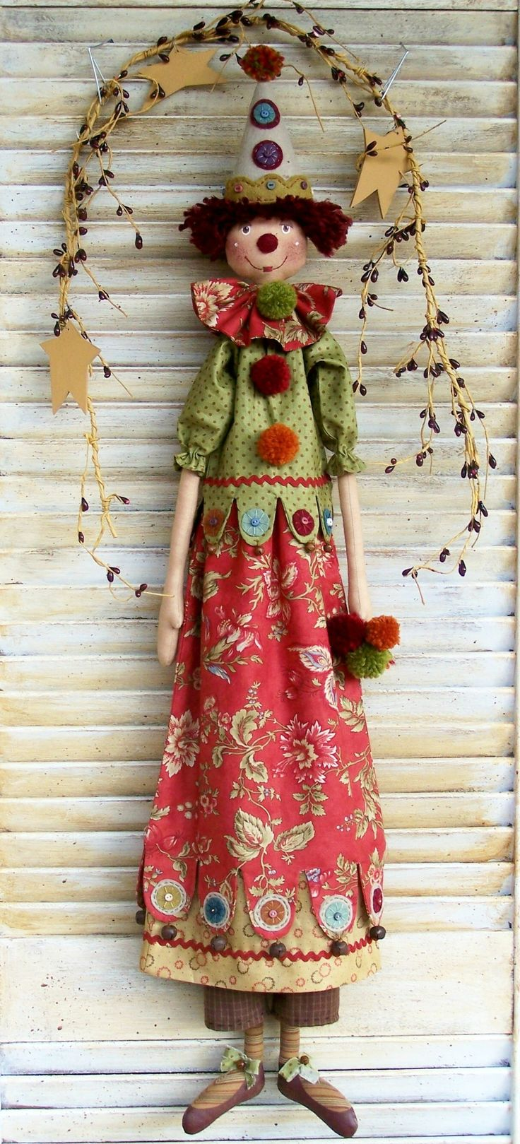 Bellatrix, cloth doll clown, pattern by Annie Smith