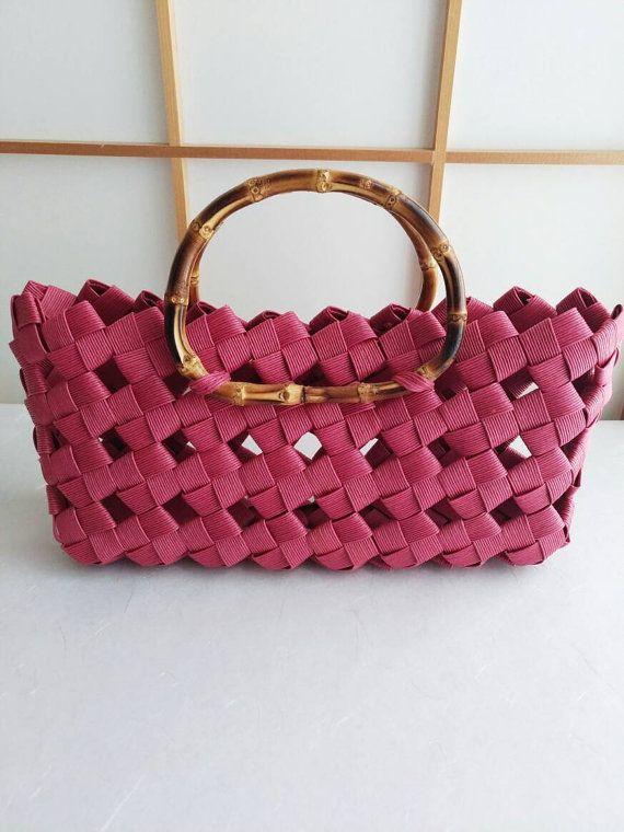 Red handbag handbag hand bag Japanese bamboo eco