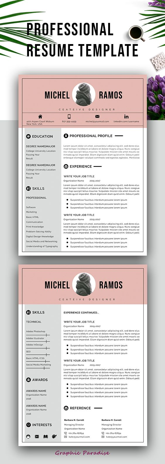 Professional resume template instant download| MS word resume template| Resume with photo and cover letter| A4 and US Letter| resume for mac #resume #resumetemplate #cv #cvtemplate