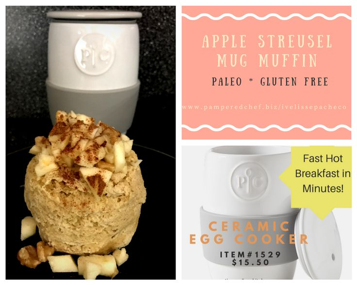 2 minutes gluten free Apple streusel Muffin using Ceramic Egg Cooker! You can also bake it instead of microwave. For paleo (use coconut oil instead of butter) For more recipes follow me www.facebook.c (Apple Recipes Microwave)