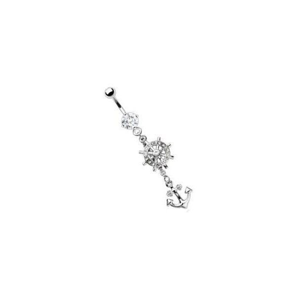 Body Accentz Belly Ring Body Accentz® Belly Button Ring Navel Anchor... ($11) ❤ liked on Polyvore featuring jewelry, belly rings, piercings, accessories, belly button rings, surgical steel body jewelry, dangling jewelry, anchor jewelry, belly ring jewelry and surgical steel jewelry
