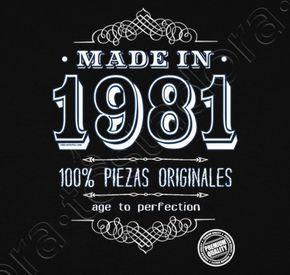 Camiseta Made in 1981. - nº 1302744 - Hombre, manga corta, negra, calidad extra. Sol's 190 gr/m2: 100 algodón semipeinado, 24/S hilo Ring Spun de calidad superior. Algodón preencogido. Tapacosturas reforzado en