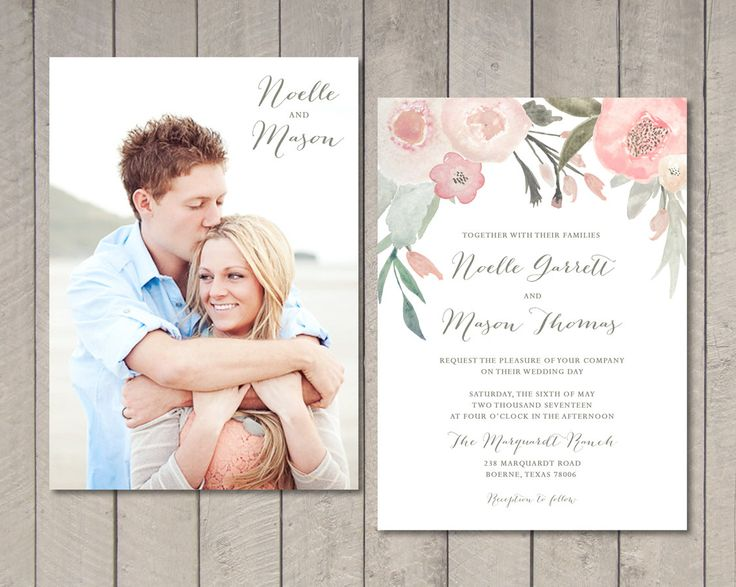 Blush Floral Wedding Invitation Printable by vintagesweetdesign