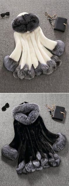 Fashion Hooded Artificial Fur Coats For Women #fashion #style #winter #coat #outwear