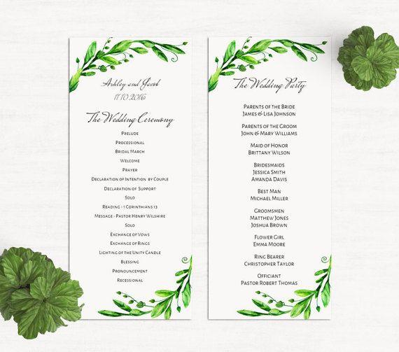 Green programs Printable wedding program by CardsForWedding