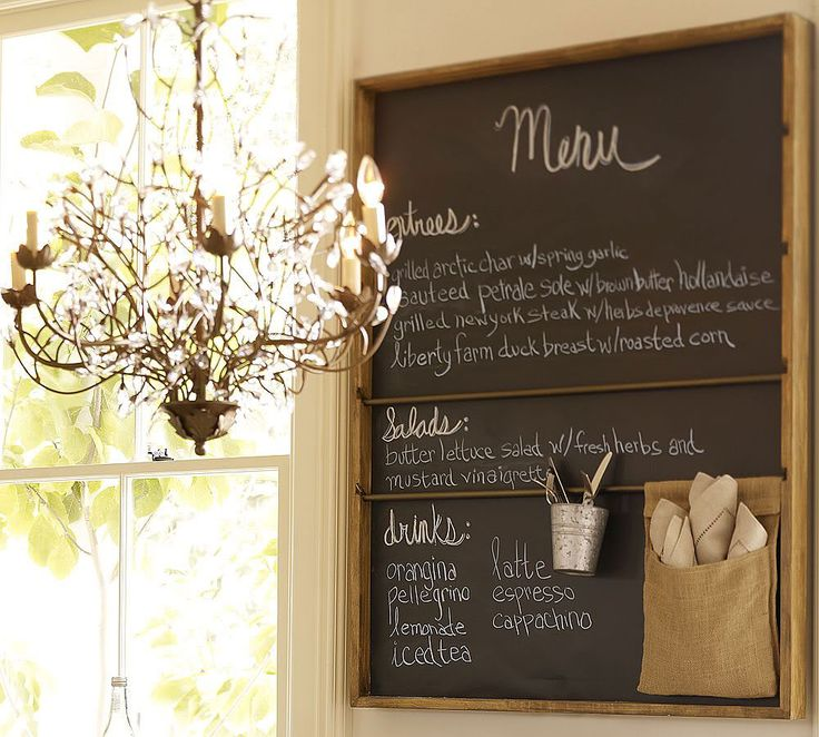 {Source: Pottery Barn}Kitchens, Dining Room, Chalkboards Painting, Menu Boards, Bulletin Boards, Chalk Boards, Painting Ideas, Chalkboards Wall, Pottery Barns