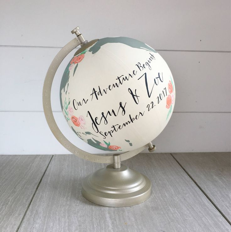 We love the idea of having guests sign a customized world globe for the guest book! | Painted Globe Custom Wedding Guestbook | Alternative Guest Book Ideas | Globe Guest Book | Travel Wedding Theme | Travel Themed Wedding | Our Adventure Begins Guest Book | #guestbook #guestbookalternative