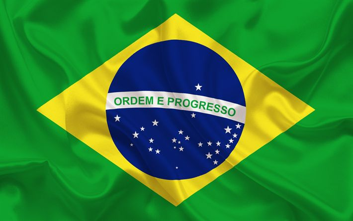 Descargar fondos de pantalla La bandera de brasil, Brasil, bandera de Brasil, de tela de seda