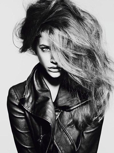 black and white fashion photography portrait long hair leather jacket. repin @sarahdlawrence