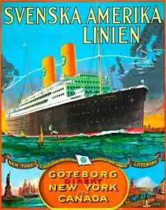 Stil och elegans. En klassisk affisch från Svenska Amerika Linien som erbjuder fantastiska resor till New York.