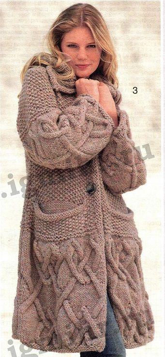 Вязаное пальто с карманами. Подробное текстовое описание вязания спицами, схема.