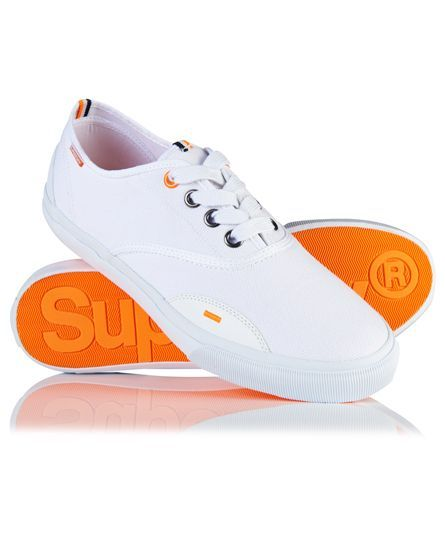 #superdry Superdry men's Mono Pro sneakers. These low top, canvas trainers feature lace fastenings, Superdry branded inner sole and a tri colour logo patch on the tongue. The Mono Pro shoes are finished with a tri colour Superdry logo patch on the heels, a subtle logo tab on the side of the shoe and a signature orange stitch. 422665300002526C018 White Condition | new