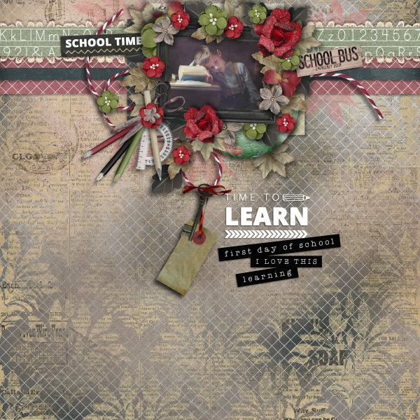 Kit Time To Learn by Valentina Pellitteri (Valentina Creations). Template Mix It Up #2 by Heartstrings Scrap Art. Photo per kind favour of Marta Everest Photography.