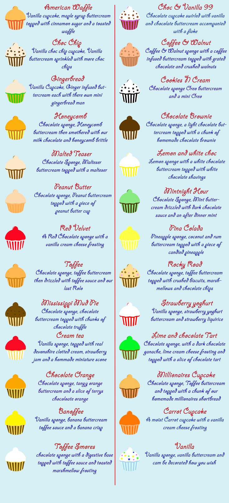 Cupcakes & Cakes - Torquay South Devon - Cupcake Menu