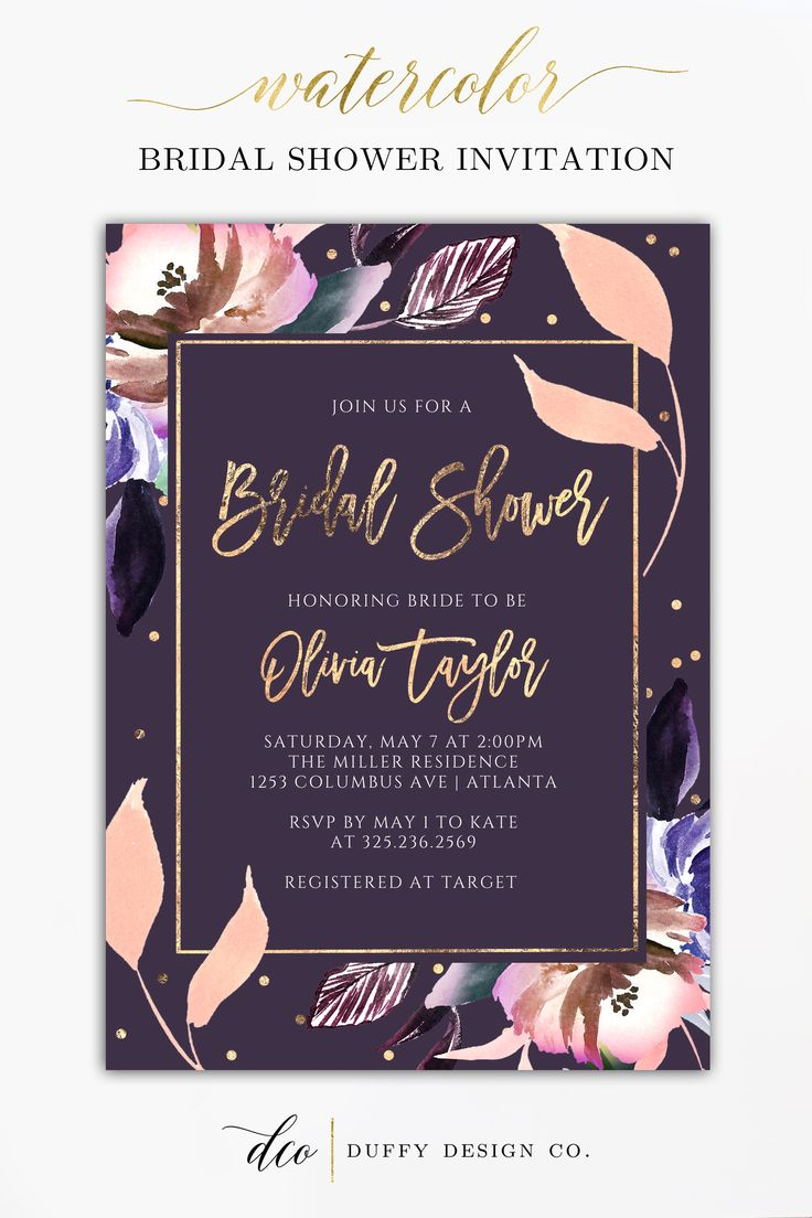 Bridal Shower Invitation, Bridal Shower Invite, Wedding Shower Invite, Gold Plum…