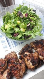 """Beachy…, Donuts?"" : Grilled Coconut and Pineapple Chicken with Spring Mix Salad – All Sauced"