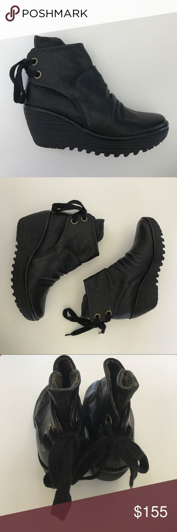 "Fly London Yama boots 37 new no box Fly London Yama Bootie Women 37 US 6-6.5 Black Mousse Ankle Lace Up Back New New no box Size 37 EUR, US size 6-6.5 M 2.5"" heel Fast Shipping! Comes from smoke and pet free home. Fly London Shoes Ankle Boots & Booties"