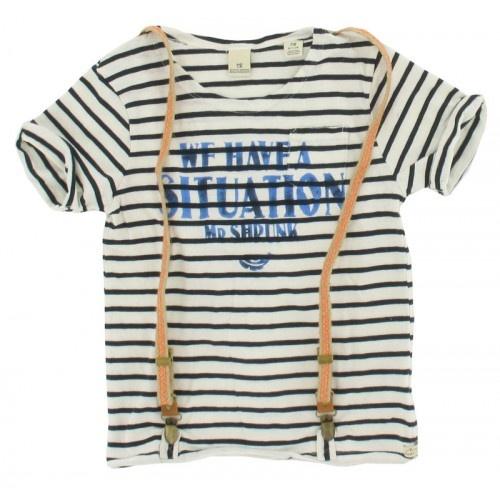 Scotch and Soda - T-shirt bretels streep navy