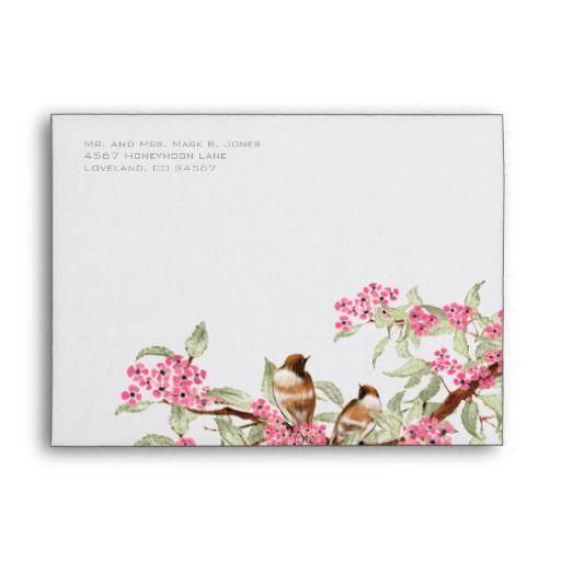 Vintage Love Birds Pink Flower Branch Envelopes
