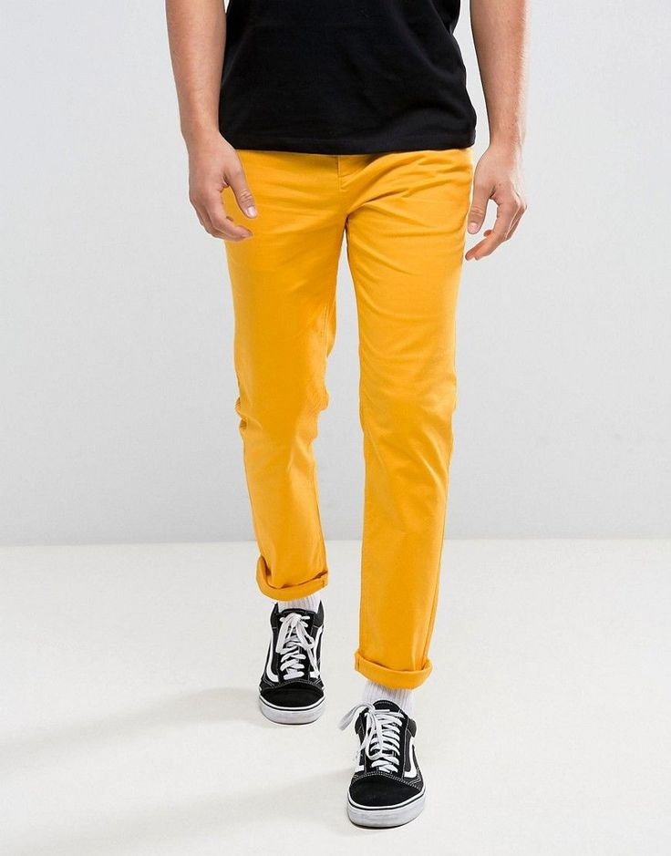 ASOS Slim Chinos In Yellow - Yellow