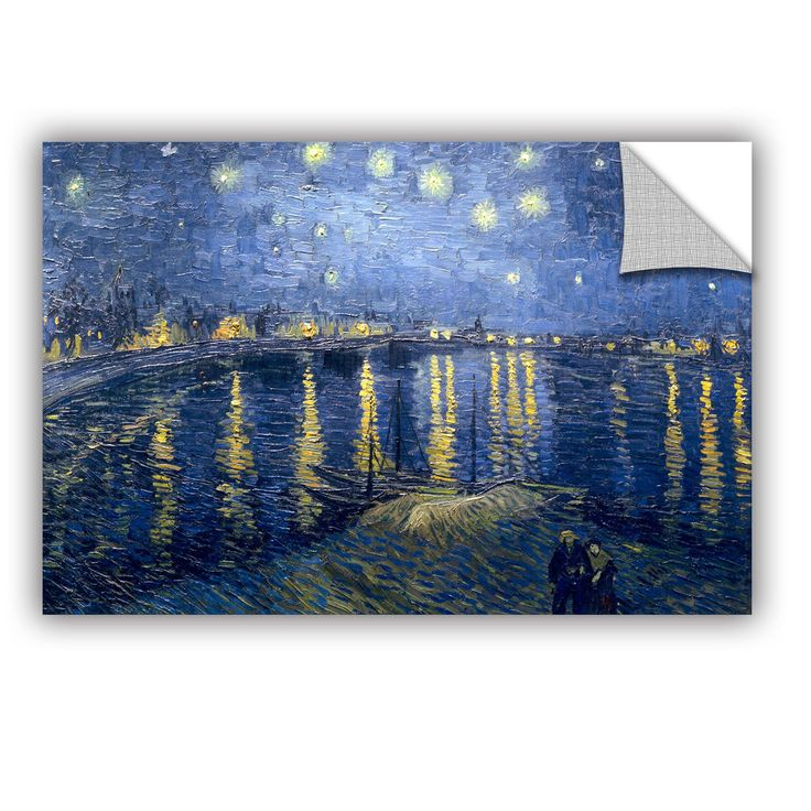 Starry Night Over The Rhone Lighter Version By Vincent Van Gogh Art Appeelz  Removable Wall Mural