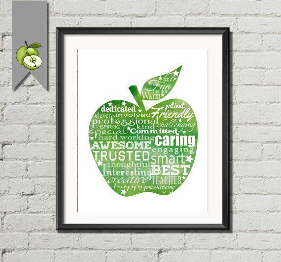 Teacher Appreciation gift: apple word art green in watercolor art print printable  DIY printable retirement