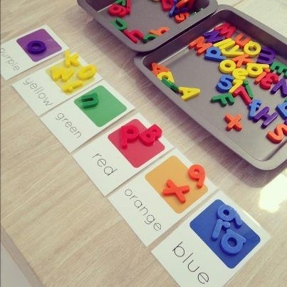 sorting letters by color...print out 2 colors per cookie sheet so that the letters will stick to the color, rather than placing them on the table