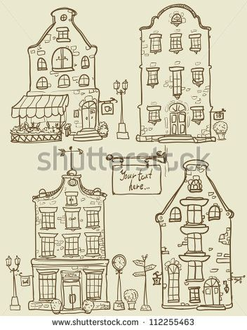 Hand drawn old houses, old town, sketch, doodles, isolated
