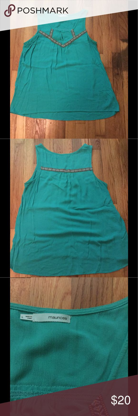 Teal shirt with nice detail This is a great tank. It's lightweight! Maunces Tops Tank Tops