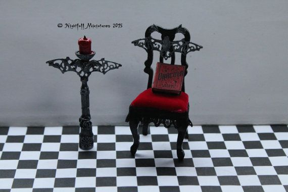 Dollhouse Miniature Gothic Vampire Dracula Bat Chair and Bat Candelabra Candlestick in 1:12 scale