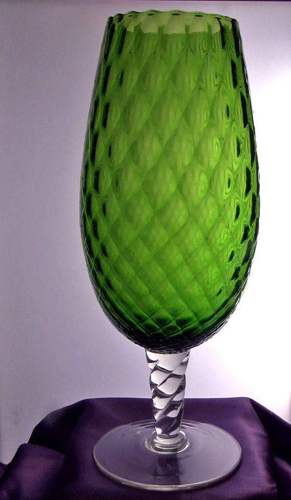 Head turning large 1970s Empoli optical green glass by RAVERETRO