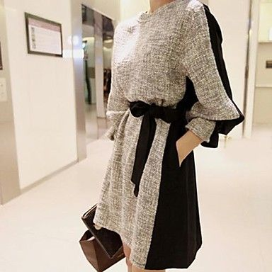 Women's Solid Color Simple And Stylish Long Sleeve Dress - USD $ 25.79