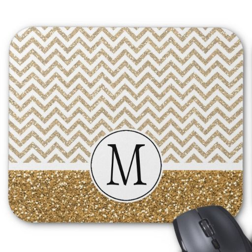 Gold Glam Faux Glitter Chevron Mouse Pad #mousepads