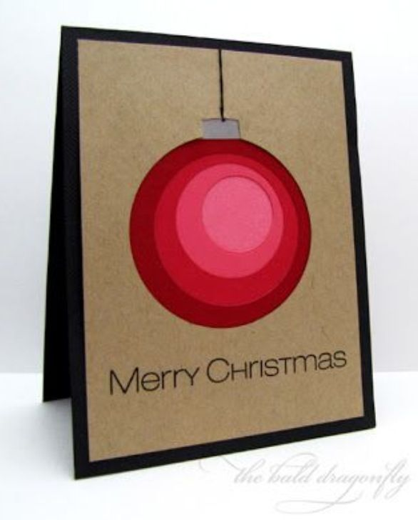 #Christmas #card  Create an OMBRE #ornament by layering card stock circles.