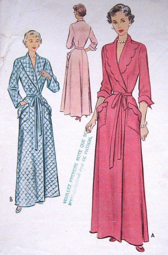 Vintage 1950s Housecoat Pattern Lounging Bath Robe Long Evening Womens Full Figure Plus Size Double Breast McCall 8308 Bust 42