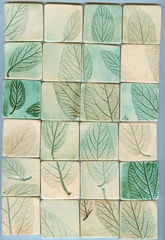 24 leaf impression tiles and free bonus tiles by firedandfused, $50.00 I like all the leafs that are split in to parts and it makes one leaf.