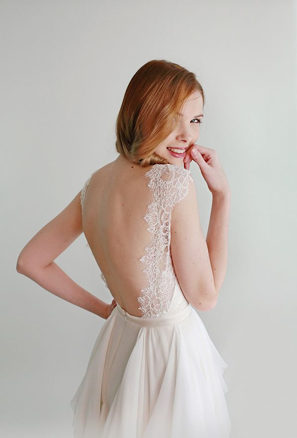pretty Emmy Lou open back #wedding gown with lace detail, handmade by Leanne Marshall (Project Runway Winner)