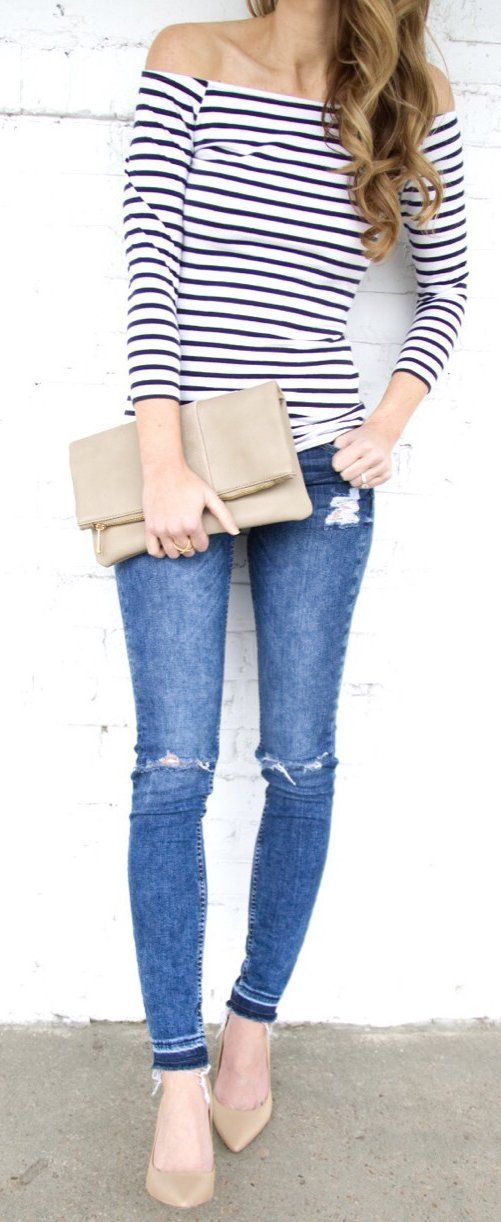 White Striped Off The Shoulder Top & Ripped Skinny Jeans & Nude Pumps