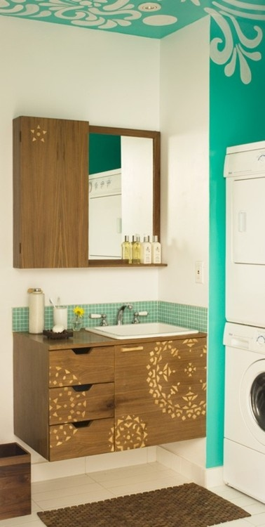 color and stencling: Bathroom Design, Small Guest Bathroom, Bright Teal, Hands Stencil, Bright Colour, Bathroom Closet, Laundry Rooms, Bathroom Ideas, Paintings Bathroom