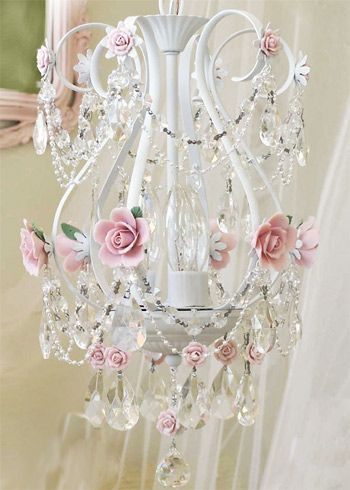 chandelier/ made some ceramic roses with Martha stewart's air dry clay and wiltons rose mold, then painted them pink