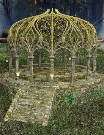 Faerie gazebo - elevated only a little so that guests can still see any event (the ceremony) without trouble. Ringed with pots of flowers depending on the color choice of the client