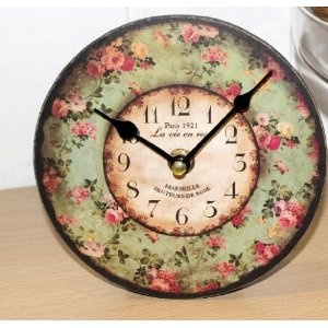Antique Style Floral Design Clock French Chic Shabby Chic
