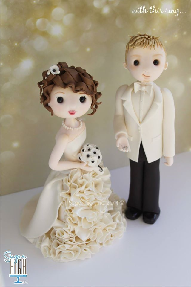 Bride and groom cake topper - by Sugar High Inc