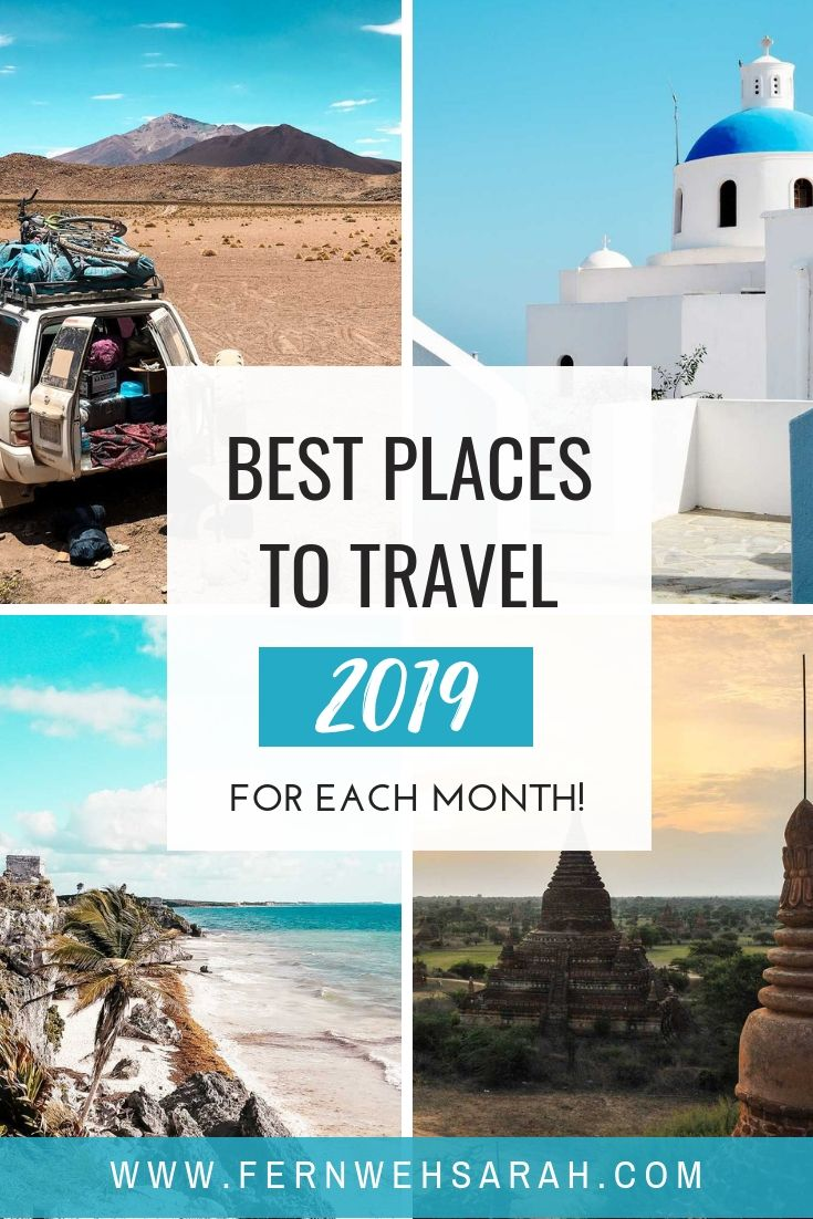Best places to travel in 2019 by month