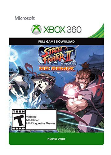 Super Street Fighter II Turbo Remix – Xbox 360 Digital Code  Super Street Fighter II Turbo HD Remix receives a complete new look even as bettering onthe leading edge fighting system of the unique game. Up to date with 1080p HD redrawnart and widescreen beef up, the sport offers a unique revel in that appeals to newfans and Street Fighter purists alike. All new 1080P high-definition art for Street Fighter characters and backgroundscreated by Udon Entertainment, creators of the St..